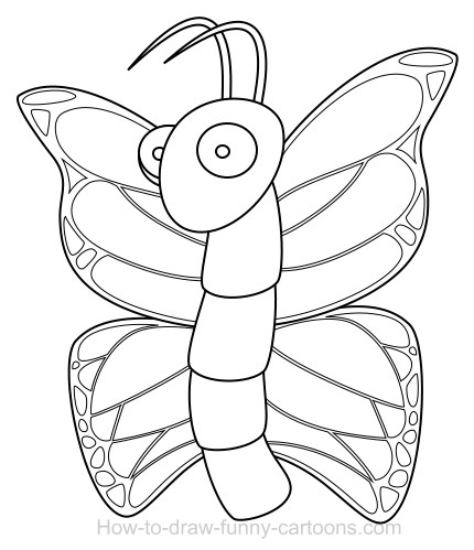 drawing a butterfly cartoon - Cartoon Outline Drawings