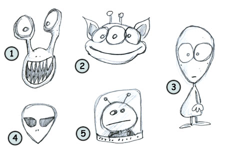 How to draw cartoon aliens step 4