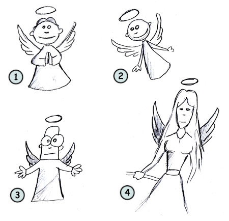 How to draw a cartoon angel step 4