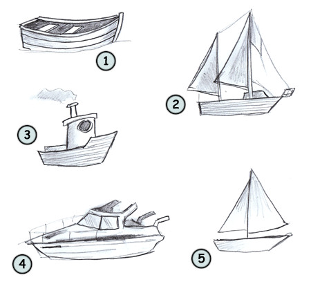 How to draw a cartoon boat step 4