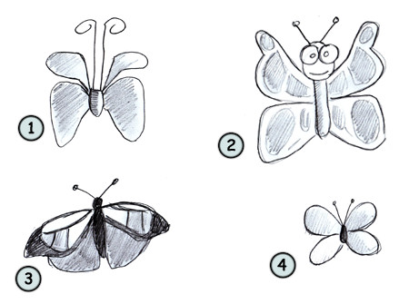 How to draw a cartoon butterfly step 4