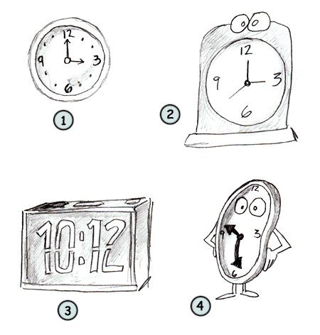 How to draw a cartoon clock step 4