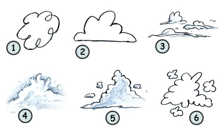 How to draw cartoon clouds step 4