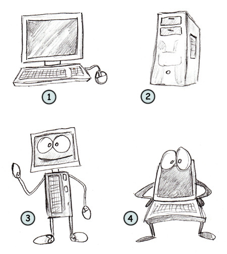 How to draw a cartoon computer step 4