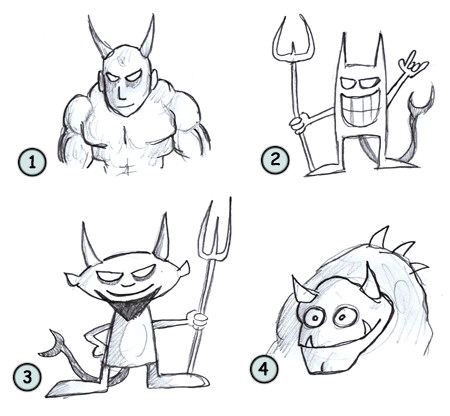 How to draw a cartoon devil step 4