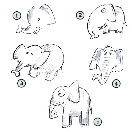 How to draw cartoon elephants step 4