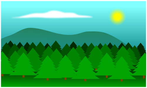 Drawing a cartoon forest