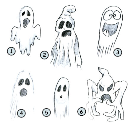 How to draw a cartoon ghost step 4