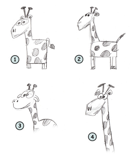 Drawing a cartoon giraffe