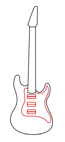drawing a cartoon guitar