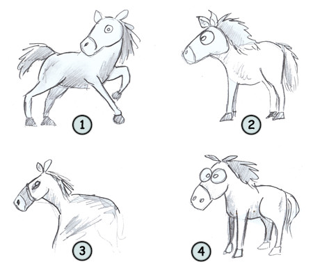 Happy drawing! How to draw a cartoon horse step 4