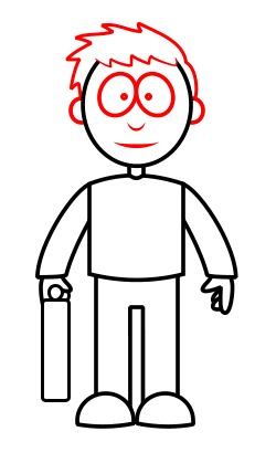 Drawing a cartoon lawyer for Ro draw