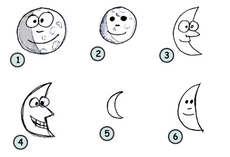 How to draw a cartoon moon step 4!