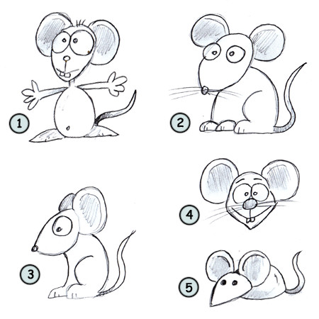 How to draw a cartoon mouse step 4