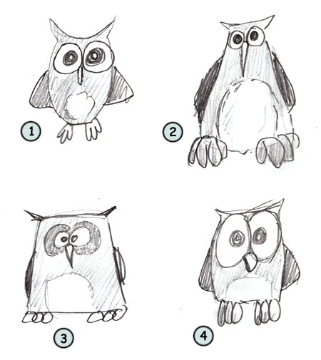 How to draw a cartoon owl step 4