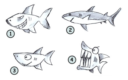 How to draw a cartoon shark step 4