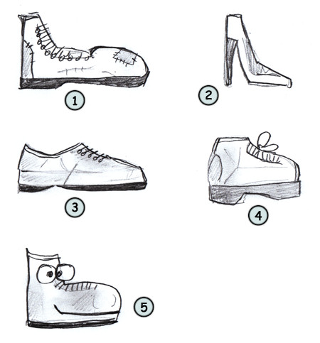 How to draw cartoon shoes