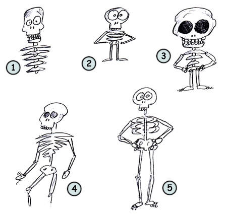 drawing a cartoon skeleton