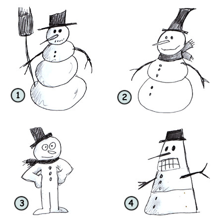 How to draw a cartoon snowman step 4