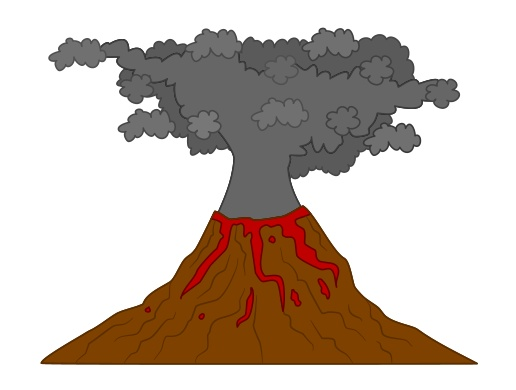 cartoon volcano