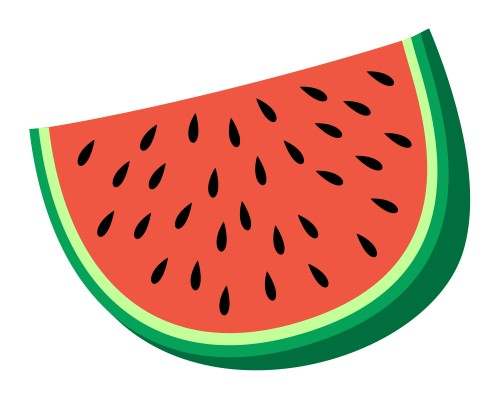 Cartoon Watermelon on Basic Shape Page