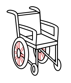 Cartoon Wheelchair on electric black
