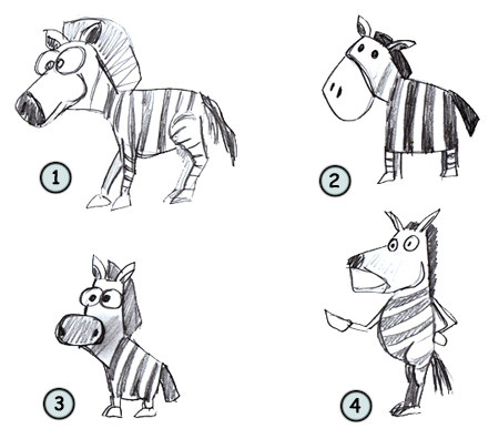 How to draw a cartoon zebra step 4