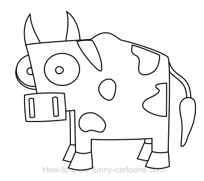Cow Cartoon The First Step Is Easiest One All You Have To Do Reproduce Drawing Above Or Create An Original If Prefer