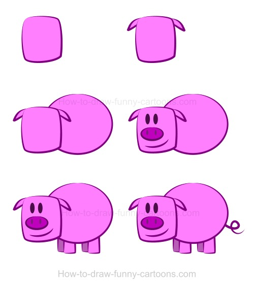 drawing a pig is not so difficult using this step by step drawing lesson above you can find a resume of all six steps needed to create this amazing cartoon