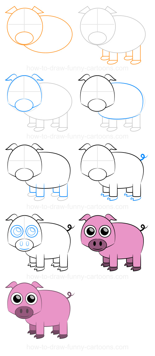 Step-by-step dr... Flying Pig Drawing