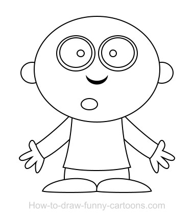 first draw a simple cartoon character my character doesnt have any hair on top of the head but if you want to draw some hair just go ahead and do so - Simple Cartoon Pics