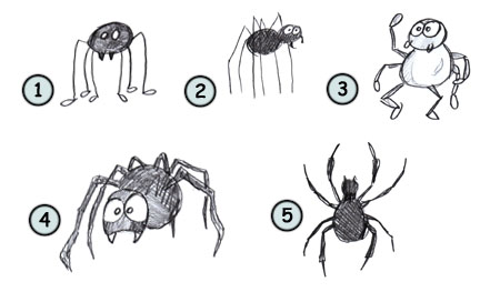 how to draw a spider step 4