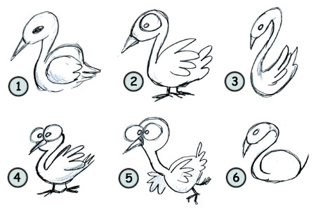 How to draw a swan step 4