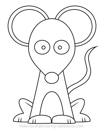 drawing a mouse cartoon - Cartoon Outline Drawings