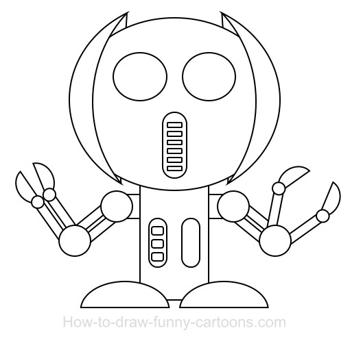 Drawing A Robot Cartoon