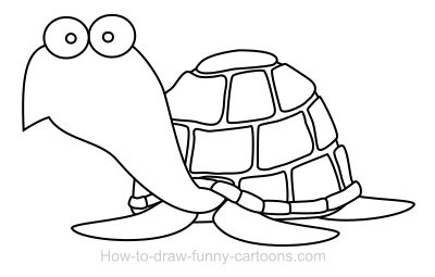 drawing a turtle cartoon - Cartoon Outline Drawings