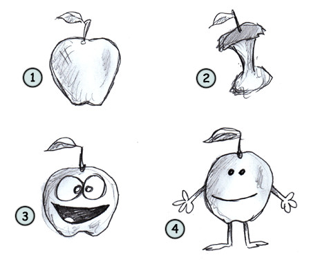How to draw a cartoon apple step 4
