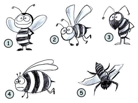 drawing a cartoon bee