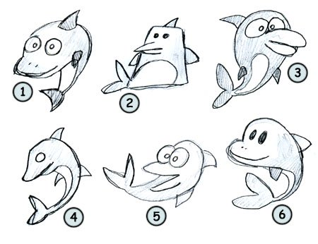 How to draw a cartoon dolphin step 4