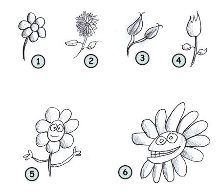 How to draw cartoon flowers step 4