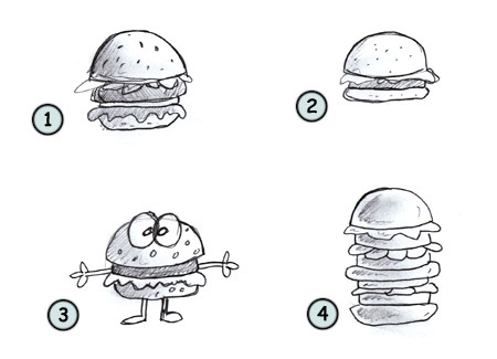 How to draw a cartoon hamburger