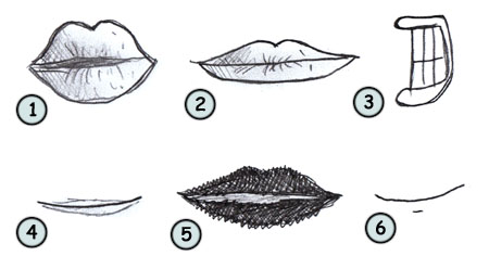 How to draw cartoon lips step 4