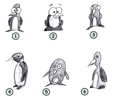 How to draw cartoon penguins step 4