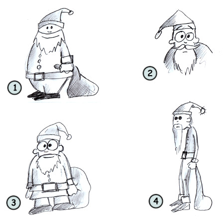 How to draw a cartoon santa step 4