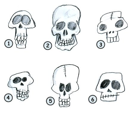 How to draw cartoon skulls step 4