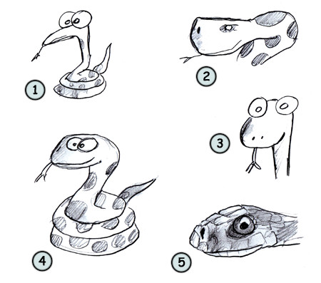How to draw cartoon snakes step 4