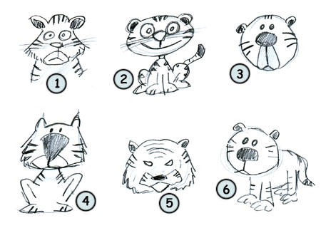 How to draw cartoon tigers step 4