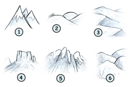 How to draw mountains