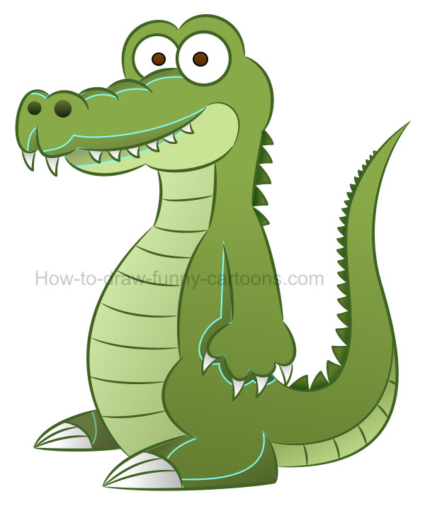 How to draw an alligator clip art