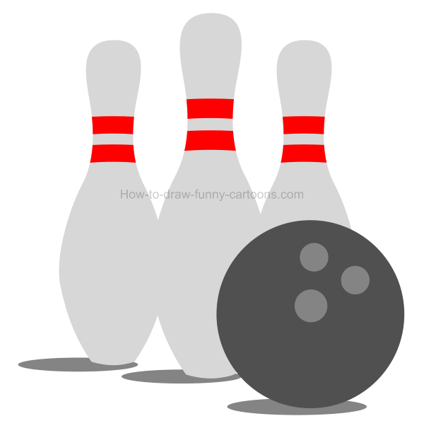 How to draw a bowling clip art illustration